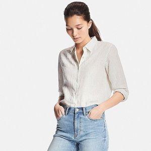 UNIQLO white linen stripped shirt